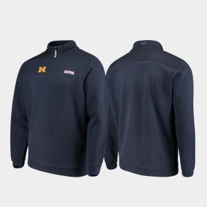 Michigan Wolverines Jacket Quarter-Zip Navy For Men's Shep Shirt