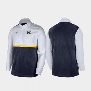 Michigan Wolverines Jacket Quarter-Zip Pullover Color Block For Men White Navy
