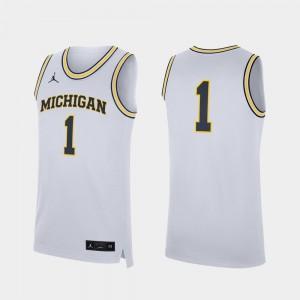 Michigan Wolverines Jersey Replica White For Men #1 College Basketball
