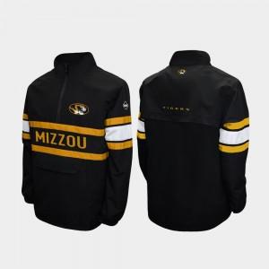 Missouri Tigers Jacket Alpha Windshell Pullover Quarter-Zip For Men Black