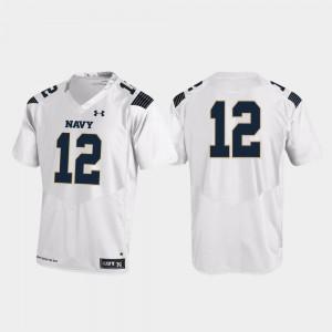 Navy Midshipmen Jersey #12 Mens White College Football Replica