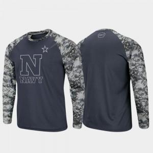 Navy Midshipmen T-Shirt Mens Raglan Long Sleeve Digi Camo Charcoal Camo OHT Military Appreciation