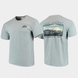 Navy Midshipmen T-Shirt Gray Comfort Colors Campus Scenery For Men's