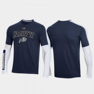Navy Midshipmen T-Shirt OT 2.0 Shooting Long Sleeve 2020 March Madness Navy Men