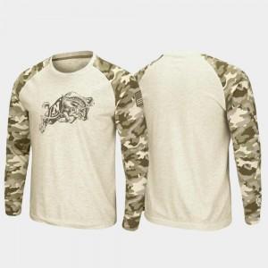 Navy Midshipmen T-Shirt Raglan Long Sleeve Desert Camo OHT Military Appreciation Mens Oatmeal