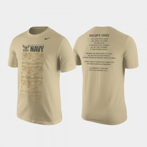 Navy Midshipmen T-Shirt Mens Cotton Tan Military Creed