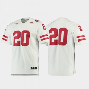 Nebraska Cornhuskers Jersey Men Premier #20 White Football