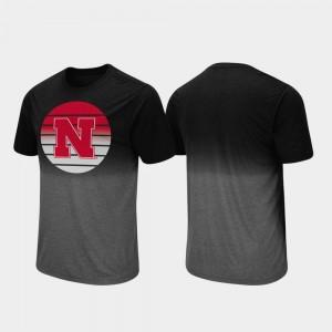 Nebraska Cornhuskers T-Shirt Dip Dye Black For Men Fancy Walking