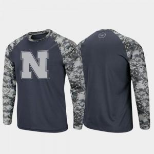 Nebraska Cornhuskers T-Shirt OHT Military Appreciation For Men's Raglan Long Sleeve Digi Camo Charcoal Camo
