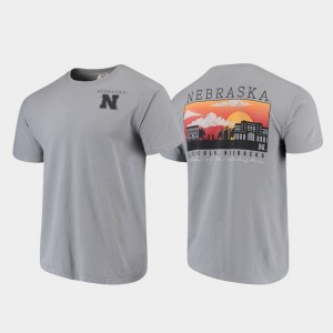 Nebraska Cornhuskers T-Shirt Campus Scenery Comfort Colors Gray For Men