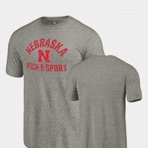 Nebraska Cornhuskers T-Shirt Tri-Blend Distressed Gray Pick-A-Sport Men