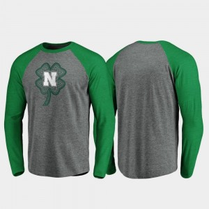 Nebraska Cornhuskers T-Shirt For Men St. Patrick's Day Raglan Long Sleeve Celtic Charm Heathered Gray