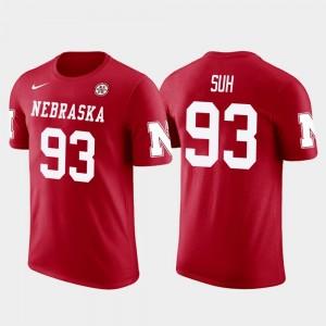 Nebraska Cornhuskers Ndamukong Suh T-Shirt Red For Men Los Angeles Rams Football Future Stars #93