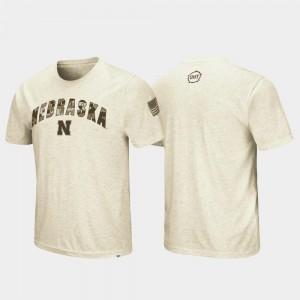 Nebraska Cornhuskers T-Shirt Desert Camo Men Oatmeal OHT Military Appreciation