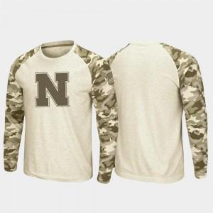 Nebraska Cornhuskers T-Shirt For Men's Oatmeal Raglan Long Sleeve Desert Camo OHT Military Appreciation