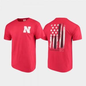 Nebraska Cornhuskers T-Shirt Men's Baseball Flag Scarlet Comfort Colors