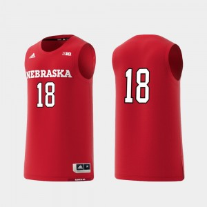 Nebraska Cornhuskers Jersey Scarlet #18 Men's Basketball Swingman College Replica