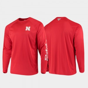Nebraska Cornhuskers T-Shirt Scarlet PFG Terminal Tackle Long Sleeve Omni-Shade For Men's