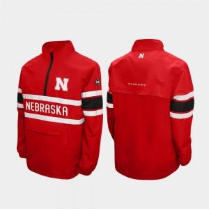 Nebraska Cornhuskers Jacket For Men Alpha Windshell Pullover Scarlet Quarter-Zip