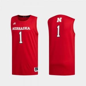 Nebraska Cornhuskers Jersey Men's #1 Scarlet Swingman Basketball Basketball Swingman