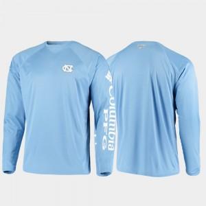 North Carolina Tar Heels T-Shirt Carolina Blue Omni-Shade PFG Terminal Tackle Long Sleeve For Men