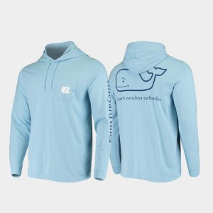 North Carolina Tar Heels T-Shirt Carolina Blue Whale Hooded Long Sleeve Mens