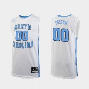 North Carolina Tar Heels Custom Jersey Replica White Men's #00 College Basketball
