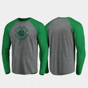 North Carolina Tar Heels T-Shirt Raglan Long Sleeve Celtic Charm Heathered Gray St. Patrick's Day For Men