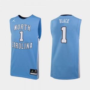 North Carolina Tar Heels Leaky Black Jersey Replica College Basketball #1 Carolina Blue For Men's