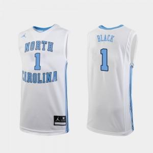 North Carolina Tar Heels Leaky Black Jersey White #1 Men Replica College Basketball