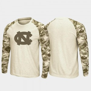 North Carolina Tar Heels T-Shirt OHT Military Appreciation For Men's Oatmeal Raglan Long Sleeve Desert Camo