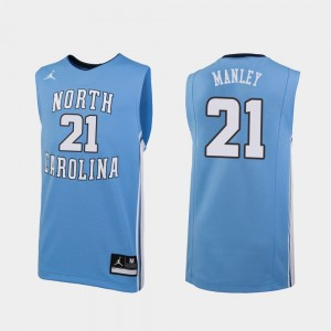 North Carolina Tar Heels Sterling Manley Jersey Mens #21 Carolina Blue Replica College Basketball