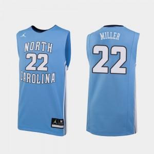 North Carolina Tar Heels Walker Miller Jersey #22 College Basketball For Men's Replica Carolina Blue