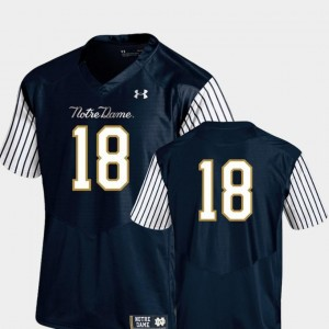 Notre Dame Fighting Irish Jersey For Men's Navy Pinstripe Football 2018 Shamrock Series #18