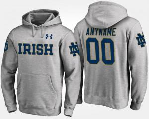 Notre Dame Fighting Irish Customized Hoodies Men's #00 Gray