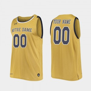Notre Dame Fighting Irish Custom Jerseys For Men's College Basketball Gold #00 Replica