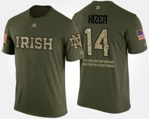 Notre Dame Fighting Irish DeShone Kizer T-Shirt Camo Military Mens Short Sleeve With Message #14