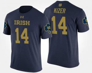 Notre Dame Fighting Irish DeShone Kizer T-Shirt #14 For Men's Navy