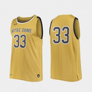 Notre Dame Fighting Irish Jersey Gold Replica #33 College Basketball Mens