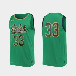 Notre Dame Fighting Irish Jersey #33 Mens College Basketball Replica Kelly Green