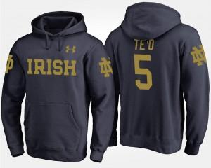 Notre Dame Fighting Irish Manti Te'o Hoodie #5 For Men Navy