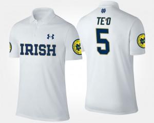 Notre Dame Fighting Irish Manti Te'o Polo #5 Men White