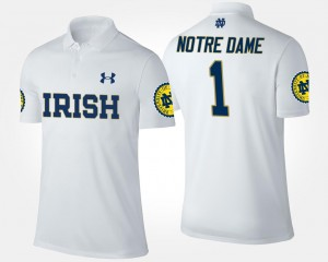 Notre Dame Fighting Irish Polo White No.1 Short Sleeve Men's #1