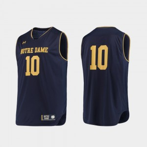 Notre Dame Fighting Irish Jersey Navy Gold For Men Authentic #10 College Basketball