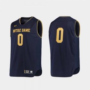 Notre Dame Fighting Irish Jersey Men College Basketball #0 Replica Navy Gold
