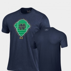 Notre Dame Fighting Irish T-Shirt 2018 Shamrock Series Navy Field Charged Cotton For Men's