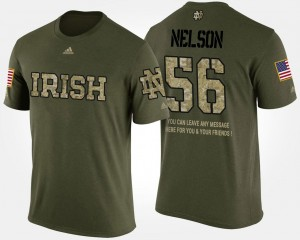 Notre Dame Fighting Irish Quenton Nelson T-Shirt #56 Camo Short Sleeve With Message Military Mens