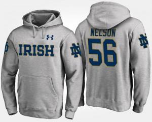 Notre Dame Fighting Irish Quenton Nelson Hoodie #56 For Men Gray
