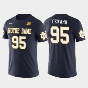 Notre Dame Fighting Irish Romeo Okwara T-Shirt Navy Detroit Lions Football #95 Future Stars Men's