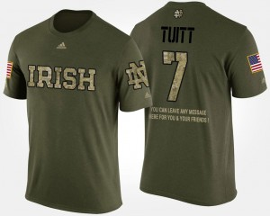 Notre Dame Fighting Irish Stephon Tuitt T-Shirt For Men #7 Short Sleeve With Message Military Camo